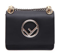 FENDI Kan I F Small Chain Shoulder Bag / Black