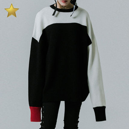 Crew Neck Casual Style Unisex Wool Street Style Long Sleeves