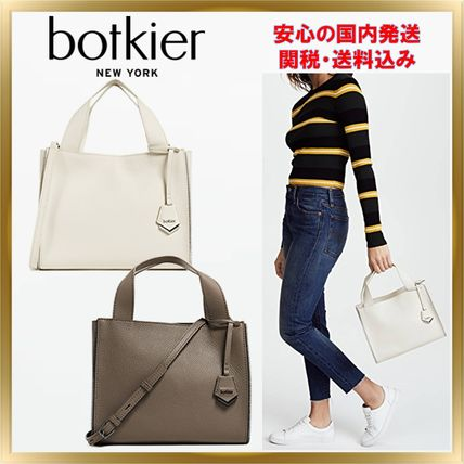2WAY Plain Leather Crossbody Formal Style  Totes