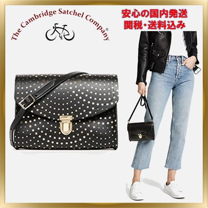 Star Casual Style Studded Leather Shoulder Bags