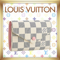 Louis Vuitton DAMIER AZUR Leather Folding Wallets