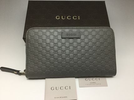 GUCCI Unisex Leather Long Wallet  Logo Long Wallets