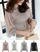 U-Neck Plain Puff Sleeves Sweaters