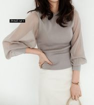 U-Neck Plain Puff Sleeves Summer Sweaters Icy Color Sheer