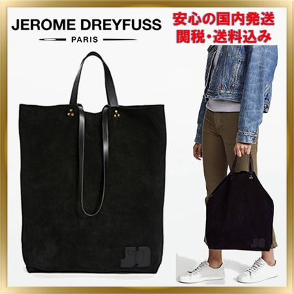 Casual Style Unisex Suede A4 2WAY Plain Totes