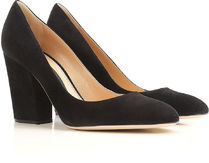 Sergio Rossi Round Toe Suede Plain Chunky Heels High Heel Pumps & Mules