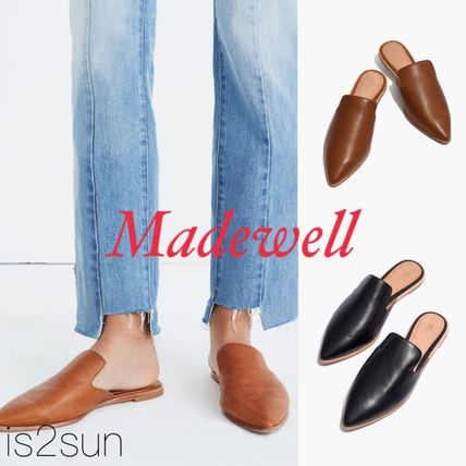 Casual Style Plain Leather Slippers Slip-On Shoes