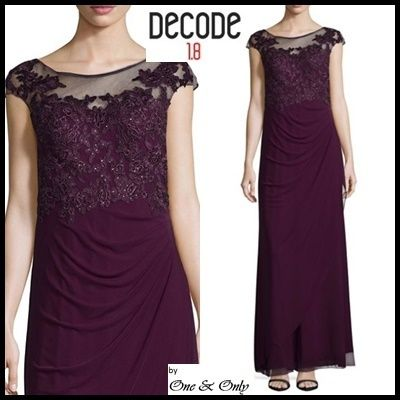 Flower Patterns Maxi Boat Neck Plain Long Lace Puff Sleeves
