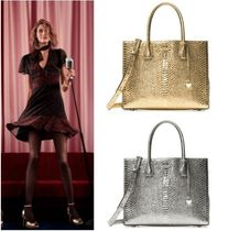 Michael Kors MERCER 2WAY Leather Python Elegant Style Totes