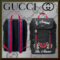 GUCCI Flower Patterns Unisex Nylon Street Style A4