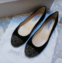 Jimmy Choo Round Toe Suede Ballet Shoes