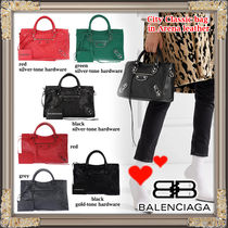 BALENCIAGA CITY Classic Silver S Handbag (Black/White/Green/Pink/Red)