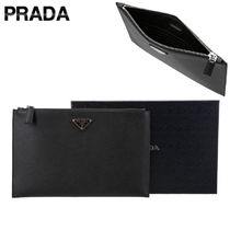 PRADA Unisex Plain Leather Clutches