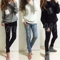 Casual Style Unisex Faux Fur Street Style Long Sleeves Plain