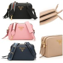 PRADA Calfskin 2WAY Plain Elegant Style Shoulder Bags