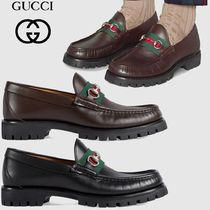 GUCCI Loafers Plain Leather U Tips Loafers & Slip-ons