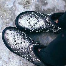 Round Toe Casual Style Blended Fabrics Studded Leather