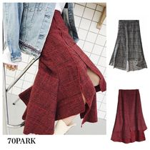 Flared Skirts Glen Patterns Casual Style Street Style Long