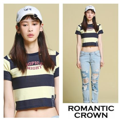 Short Stripes Casual Style U-Neck Cotton Short Sleeves
