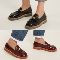 MiuMiu Platform Round Toe Plain Leather Loafer & Moccasin Shoes