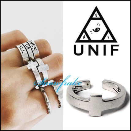 Casual Style Unisex Cross Street Style Silver Rings