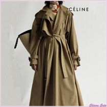 CELINE Plain Long Oversized Elegant Style Trench Coats