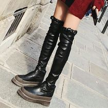 Platform Casual Style Faux Fur Plain Over-the-Knee Boots