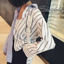 Stripes Casual Style Long Sleeves Plain Cotton Medium