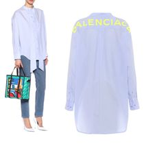BALENCIAGA Casual Style Long Sleeves Plain Cotton Long Shirts & Blouses