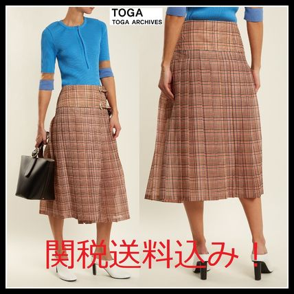 Other Check Patterns Casual Style Pleated Skirts Medium