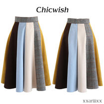 Chicwish Flared Skirts Glen Patterns Casual Style Suede