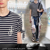 J W ANDERSON Crew Neck Pullovers Stripes Cotton Short Sleeves