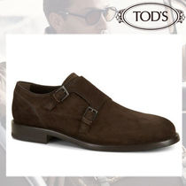 TOD'S Plain Toe Monk Suede Plain Loafers & Slip-ons