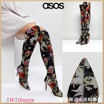 ASOS Flower Patterns Casual Style Pin Heels Over-the-Knee Boots