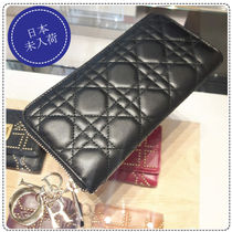 Christian Dior LADY DIOR Lambskin Plain Long Wallets