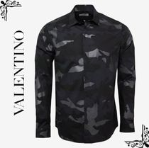 VALENTINO Camouflage Unisex Street Style Long Sleeves Cotton Shirts