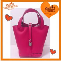 HERMES Picotin Casual Style Plain Leather Purses Totes