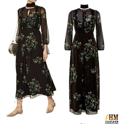 Crew Neck Flower Patterns Maxi Silk Long Sleeves Long