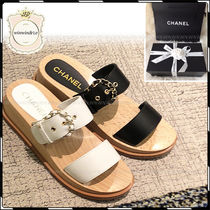 CHANEL Open Toe Platform Casual Style Plain Leather