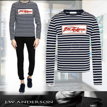 J W ANDERSON Crew Neck Pullovers Stripes Long Sleeves Cotton