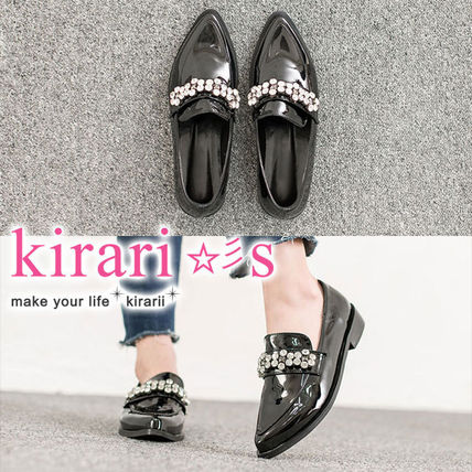 Platform Casual Style Enamel Plain With Jewels Slip-On Shoes