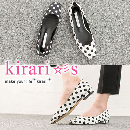 Dots Square Toe Casual Style Block Heels Ballet Shoes