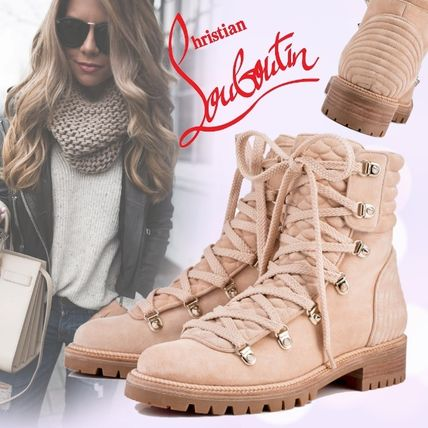 Lace-up Casual Style Suede Plain Block Heels Lace-up Boots