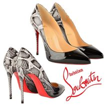Christian Louboutin Pin Heels Python Elegant Style Pointed Toe Pumps & Mules