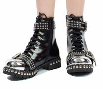 Jeffrey Campbell Round Toe Casual Style Studded Plain Leather Block Heels