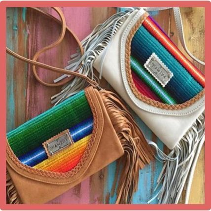 Casual Style Studded 2WAY Leather Handmade Fringes Clutches