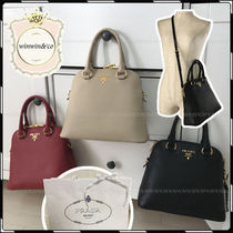 PRADA 2WAY Plain Leather Party Style Handbags