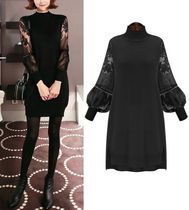 Flower Patterns Long Sleeves Plain Medium Lace Dresses