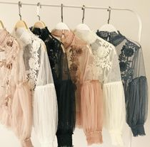 Party Style Lace Puff Sleeves Shirts & Blouses