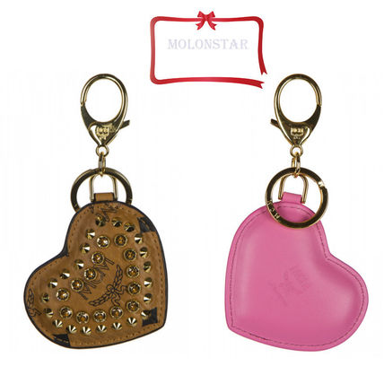 Studded Leather Keychains & Bag Charms